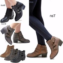 New Women Eury Black Tan Brown Western Ankle Booties Riding