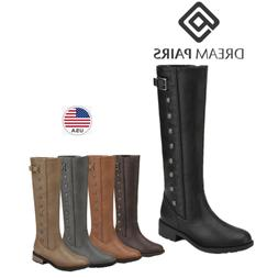 DREAM PAIRS Womens Low Heel Knee High Zipper Riding Boots