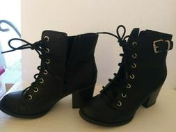 New Rampage Women's Black Zipper buckle strap Ankle Boots si