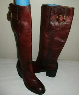 "NEW Women's LUCKY BRAND Boho 15"" Leather Boots, Top Buckle,"