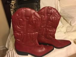 NEW Rampage Women's CHERRY APPLE Red Western,Cowboy Boots SZ