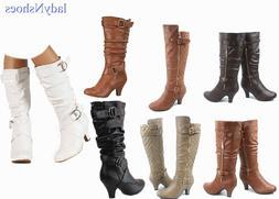 New Women's Fashion Dress  Low Heel Zipper Mid Calf Knee Hig