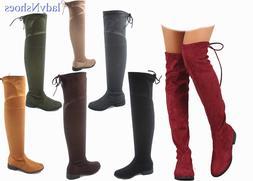 NEW Women's Fashion Thigh Knee High Low Heel Riding Boots Sh