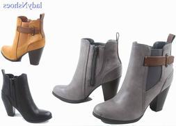 NEW Women's Faux Leather Dress Chunky Heel  Western Booties