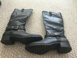 NEW! Rampage Women's Faux Leather Tall Boots ~ Black 9-1/2 M