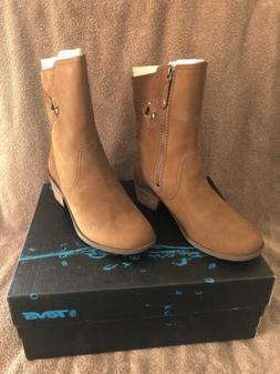 NEW Teva Women's Foxy Mid Boots, Brown Leather, Side Zip, Wo