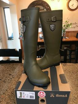 NEW KAMIK Women's Jennifer Rain Boots Size 7 Green Rubber Kn