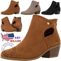 NEW Women's Perforated Cutout Chunky Block Stacked Heels Ank