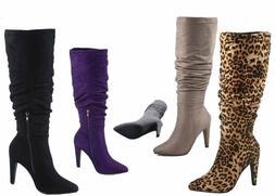 NEW Women's Pointy Toe Slouchy Stiletto Mid-Calf Knee High B
