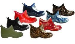 New Women's Short Rain Boots Garden Ankle Shoes Fashion Prin