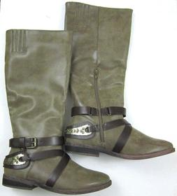 New Rampage Women's Tall Side ZIp Rancher Boots Size 9, Faux