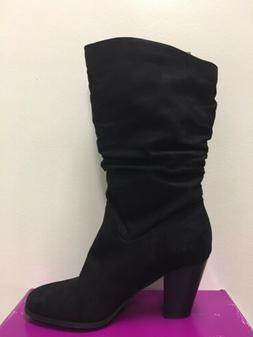 New - Women's Rampage Venice Black Faux Suede Mid Calf Boots