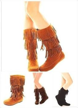 New Womens 3 layer Mid-Ccalf Faux Suede Fringe Tassle Flat M