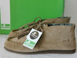 NEW WOMENS 8 TAN SANUK MOCCODILE SUEDE TASSEL LACE UP MOCCAS