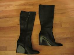 NEW WOMENS 9 NINE WEST 5 5M BLACK LEATHER BOOTS SHOES RIDING