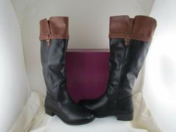NEW Womens Rampage Black Cognac Brown Knee High Boots size 9