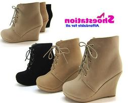 NEW Womens Fashion Ankle Boots Lace Up Booties Wedge Comfort