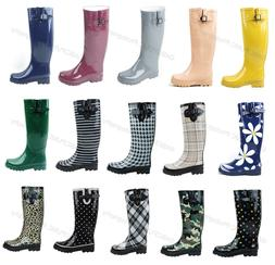 New Womens Flat Wellies Mid Calf Rubber Rain & Snow Boots Ra