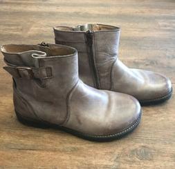 NEW Womens Birkenstock Gray Distressed Boots Buckle Zipper C