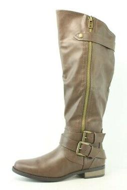 New Rampage Womens Hansel Wide Calf Brown Smooth Fashion Boo