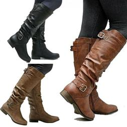 New Womens Knee High Zip Buckle Boots Ladies Flat Low Heel C