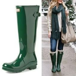 NEW Hunter Womens Original Tall Gloss Rain Boots SIZE 6 Gree