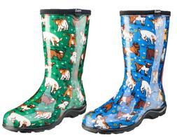 """SLOGGERS Womens Rain & Garden 10"""" Boot GOATS SKY BLUE- GOATS"""