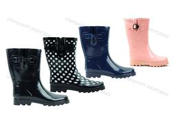 New Womens Rain Boots Rubber Short Garden Wellies Mid Calf S