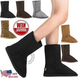 NEW Women's Winter Snow Boots Vegan Leather Classic Short
