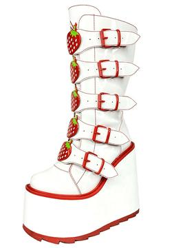 NEW YRU DUNE STRAWBERRY White/Red Rave Platform Boots-SALE