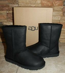 NIB UGG Womens Classic Short BLACK Water-Resistant Leather B