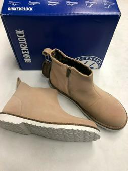 NIB Women's Birkenstock Melrose Boots in Nude Hydrophobic Si