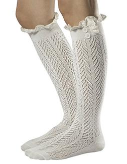 Fiorelle Norah Lacey Knee High Boot Socks, Crochet Lace & Bu