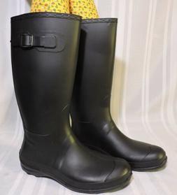 NWOB Kamik Women's Shoes Olivia Tall Rain Boots Black Rubber