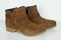 NWOB Teva Womens Delavina WP Suede Ankle Boots Bison Brown #
