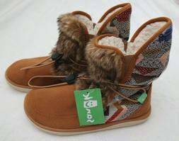 NWT! Sanuk Tripper Flurry Faux Fur Shearling Womens Ankle Bo