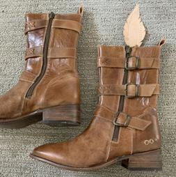 nwt womens genuine leather buckle boots brown
