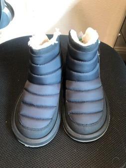 NWT Sanuk Womens Puff N Chill Black Faux Fur Lined Ankle Boo