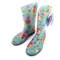 Sloggers NWT Womens Rain & Garden Boots Size 7 Floral Aqua G