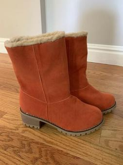 Orange Boots Fur Interior With Heel Womens 8.5  New Without