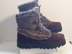 Skechers Outdoor Lace-Up Fur Trim Brown Suede Boots for Wome