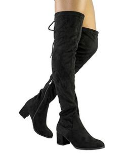 DREAM PAIRS Women's Laurence Black Over The Knee Thigh High