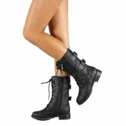 Top Moda Pack-72 Women's Fashion Mid Calf Combat Military La