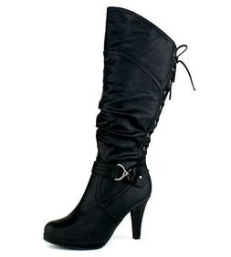 TOP Moda PAGE-65 Knee High Round Toe Lace-up Slouched High H