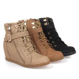 Top Moda Peter-1 Womens Lace-Up Wedge Fashion High Top Sneak