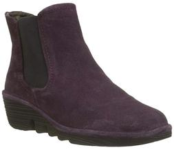 FLY London PHIL Oiled Suede PURPLE Women Wedge Ankle Boots U