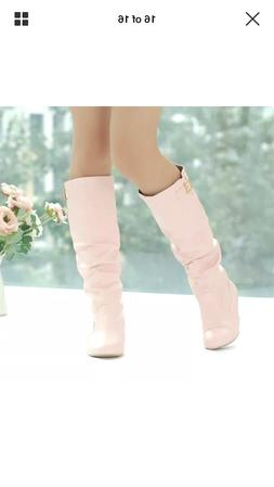 Pink Casual Slip On Knee High Slouch Riding Boots With Buckl