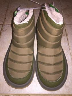 Sanuk Puff N Chill Dark Olive Boots Womens Size 8 *NEW*