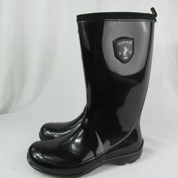 Kamik Rain Boots Women 7 Black Shiny Pull On