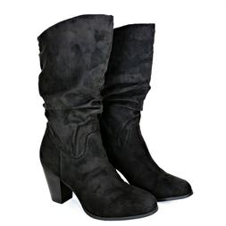 RAMPAGE 'Ram-Venice' Womens Heeled Boots - Black Faux Suede